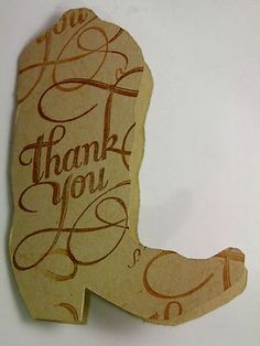 30 Handcrafted Rustic Western Cowboy Boots ~ Blank Thank You Cards with Flourish