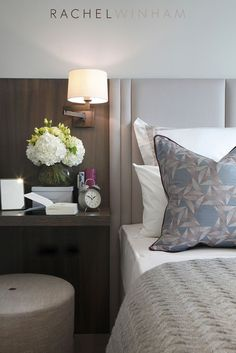Luxury bedroom design ideas with upholstered headboard and wood stained side table in modern style w Hotel Bedroom Design, Master Bedroom Design, Home Bedroom, Bedroom Decor, Master Bedrooms, Bedroom Ideas, Headboard Designs, Headboard Ideas, Hotel Interiors