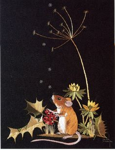 'Holly Mouse' embroidery by Helen M. Stevens