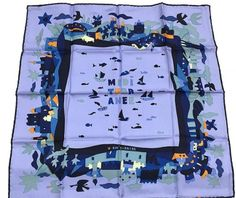 Hermes Scarf Shawl 100% Silk Carre 45 MEDI TERR ANEE AUTHENTIC #Hermes #Scarf