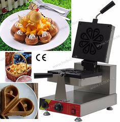 292.00$  Buy now - http://aliido.worldwells.pw/go.php?t=32711564241 - Commercial Non-stick 110V 220V Electric Rotating Teardrop Shape Ice Cream Waffle Maker Iron Machine 292.00$
