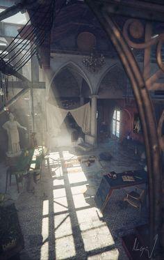 ECLECTIC LOFT: when romanesque meet gothic in an old piece of factory, La Alegría 3ds Max, Cgi, Inspirational Music, Loft, Behance, 3d Fantasy, Photoshop, 3d Artwork, Romanesque