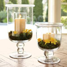 Williams-Sonoma Classic Glass Hurricanes with pillar candles and greenery