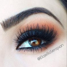 reeeeally love the copper shade over the smokey black. the lashes are stunning too. creates such bold affects.