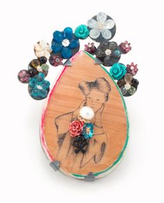 ANNIE TUNG-CA Brooch Ink transfer on wood, paint, resin, sterling silver, brass, oxidized, apatite, tourmaline, moonstone, labradorite, freshwater pearl, acrylic, thread 9.8 l x 6.8 w x 1.5 d cm 2013