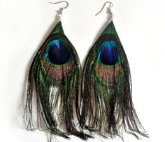 Fashion Boho Peacock Feather Silver Hook Dangle Earrings Ships FAST & FREE - ONLY $4.29 -  @ Tara's Treasures @ yardsellr.com
