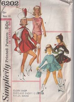 MOMSPatterns Vintage Sewing Patterns - Simplicity 6202 Vintage 60's Sewing Pattern DANDY Girls Cheerleader, Ice Skating, Majorette Dress Uniform, Leotard, Circle Skirt Dress & Cape