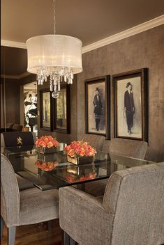 Classy dining room with recessed ceiling painted a dark color ...
