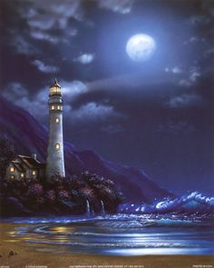 """Blue Moon Lighthouse"" - Lighthouse Art"