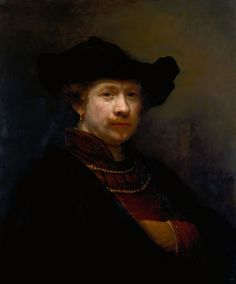 Rembrandt van Rijn - Self-Portrait in a Flat Cap (1642)  Rembrandt was 36 years old at the time he portrayed himself.  He is confident and a man of the world.  His future troubles had not yet overwhelmed him. In the Royal Collection of Queen Elizabeth II.