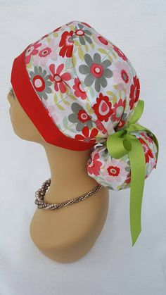 Check out this item in my Etsy shop https://www.etsy.com/listing/468034649/ponytail-scrub-hat-with-ribbon-scrub-hat