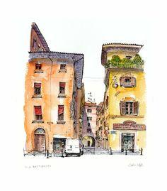 Chris Lee Building Sketch, Building Art, Watercolor Sketch, Watercolor Paintings, Watercolors, Chris Lee, City Sketch, Pen And Wash, Collor