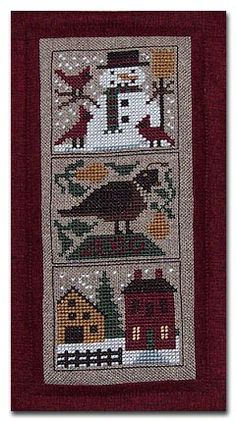 Cross Stitch - Snowman, Partridge, House