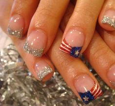 Fourth of july nail White French Tip, French Tip Nail Art, French Tip Nail Designs, Toe Nail Designs, Simple Nail Designs, July 4th Nails Designs, 4th Of July Nails, Blue Glitter Nails, White Nails