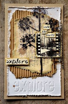 Card by Belinda Spencer using Darkroom Door Scratches Texture Stamp, Bold Blossoms Rubber Stamps and Wilderness Filmstrip & Wordstrips.