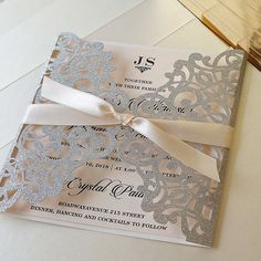 Luxury Silver Glitter Wedding Invitations