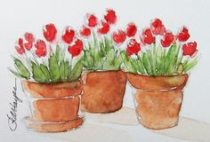 Red Tulips Three Pots Original Watercolor Painting ACEO