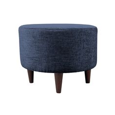 Add an elegant accent to any room with this round ottoman. This ottoman features a wooden frame covered with a chic, patterned fabric that will stand out in your home. Perfect for putting your feet up or as a seat by itself, this ottoman is decorative and useful.