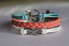 HQ Silvery Bracelet-Infinity -anchor bracelet- mint coral and white color Gift for GF friends BFF