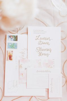Blush invitation | Read More: http://www.stylemepretty.com/2014/08/27/classically-elegant-omaha-country-club-wedding/ | Photography: Jeffrey Sampson - jeffreysampson.com