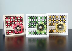 homemade cards- I think I have these flowers and I can definitely find the buttons Make Your Own Card, Card Patterns, Crochet Patterns, Cute Cards, Pretty Cards, Card Sketches, Scrapbook Cards, Scrapbooking, Card Tags