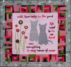 "Two Cats, 33"" x 37"", quilt by Karen Duling.  ""With two cats in the yard... life used to be so hard... """