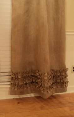 Burlap Curtains with Ruffles Burlap Panels