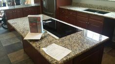 St. Cecilia granite kitchen countertop install for the Ruff family. Knoxville's Stone Interiors. Showroom located at 3900 Middlebrook Pike, Knoxville, TN. www.knoxstoneinteriors.com. Estimates available, call 865-971-5800.