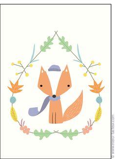 #carte #illustration #couleur #autumn #leaves #color #plantes #café #cards #snail #autumn #plants #leaves #mushroom #coffee Carte Le petit #renard pour envoyer par La Poste, sur Merci-Facteur ! Cute Illustration, Paper Cutting, Squirrel, Hedgehog, Owl, Nail Art, Illustrations, Pattern, Illustrated Maps