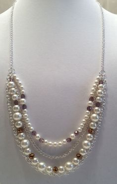 Wedding Bride Necklace.  Silver Chain, Cream Glass Pearls, Smokey Crystals, Copper Glass Beads. $30.00, via Etsy.