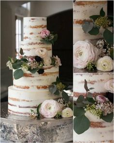 THAT are the most beautiful naked cakes for your wedding - Wedding - Cake Design Wedding Cake Rustic, Rustic Cake, Beautiful Wedding Cakes, Beautiful Cakes, Amazing Cakes, Wedding Table, Wedding Ceremony, Wedding Bands, 4 Tier Wedding Cake