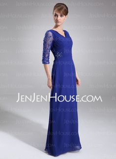 Sheath V-neck Floor-Length Chiffon Mother of the Bride Dresses With Embroidered Ruffle (008006382) - JenJenHouse