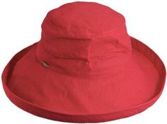 Scala Women's Cotton Big Brim Ultraviolet Protection Hat with Inner Drawstring, Red, One Size,$26.60