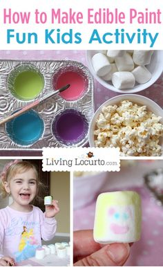 How to Make Edible Paint! A fun Indoor Craft Activity for Kids. LivingLocurto.com #craft #kids