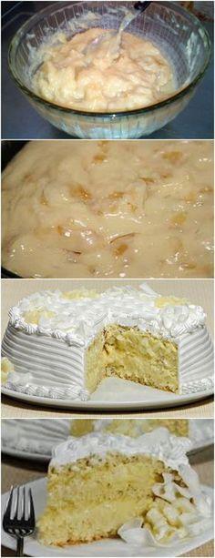 Bolo Trufado de Abacaxi❤️ VEJA AQUI>>>1 abacaxi pequeno 1 lata de creme de leite (sem o soro) Açúcar para cozinhar o abacaxi #receita#bolo#torta#doce#sobremesa#aniversario#pudim#mousse#pave#Cheesecake#chocolate#confeitaria