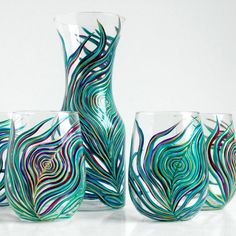 Regal Peacock Stemless Glasses & Caraf 5 Piece Set by MaryElizabethArts.com