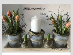DIY: spring decoration table decoration with tulips / decoration Yes - Tulpen Dekoration Diy Candle Wick, Wine Glass Candle Holder, Candle Stand, Glass Candle Holders, Diy Candles, Pillar Candles, Spring Decoration, Decoration Table, Halloween Candles