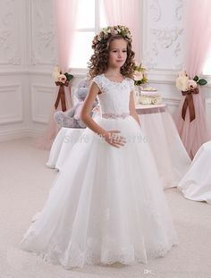 White New 2016 Girls Pageant Dresses Ball Gown Long Flower Girl Dresses For Weddings First Communion Flower Girl Dresses For Less Girls Flower Girl Dresses From Huaqianxiangprom, $55.28| Dhgate.Com