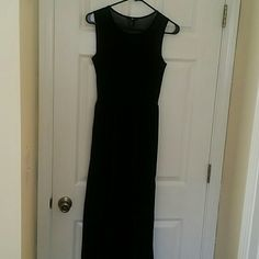 Sheer long flowing maxi dress with slits Beautiful sheer black dress. No sleeves has a high slit on both sides. Comes with a slip built in underneath. Floor length dress. Flows beautifully when you walk in it! Only worn twice and still in perfect condition. Great to wear with wedges or heels..even sandals if your tall enough! Size Xsmall! H&M Dresses Maxi