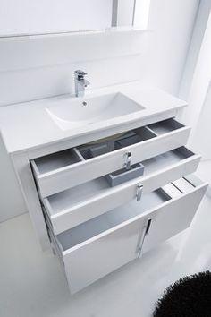 Roma bathroom vanity with extra storage. - contemporary - Bathroom - Miami - Macral Design Co White Vanity Bathroom, Bathroom Vanity Cabinets, Bathroom Furniture, Bathroom Vanities, Gray Vanity, Vanity Sink, Bathroom Storage, Bad Inspiration, Bathroom Design Inspiration