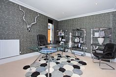 This home office has been beautifully designed by Phoenix Interiors who have selected different shades of grey as the main colour theme. Kings Home, Property Development, Main Colors, Shades Of Grey, Color Themes, Home Office, Phoenix, Vanity, Interiors