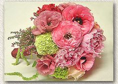 Showy, textured combo of ruffly pink ranunculas and peonies (two of my my fave flowers)