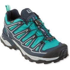 Salomon Women's X Ultra Low 2 Gore-Tex Hiking Shoes ($145) ❤ liked on Polyvore featuring shoes, athletic shoes, gore tex shoes, salomon shoes, ortholite shoes, goretex hiking boots and gore tex running shoes