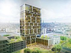 Residential Tower in Antwerp. Exterior architectural visualization. 3D rendering. Matte painting.