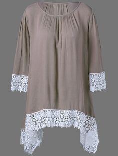 Plus Size Lace Trim Asymmetrical Blouse