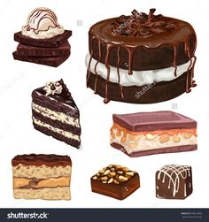 Hand Drawn Vector Chocolate Cakes dish, isolated, decoration, meal, berry, icing, slice, delicious, dessert, sweet, brown, snack, yummy, sign, holiday, celebrate, breakfast, chocolate, gourmet, cocoa, abstract, eat, biscuit, illustration, pie, piece, cherry, mousse, decorate, round, bakery, creamy, cream, watercolor, cake, painting, sugar, poster, pastry, art, style, fruit, background, fresh, party, food, 3d