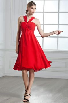 Red Halter A-line Bridesmaid Dress