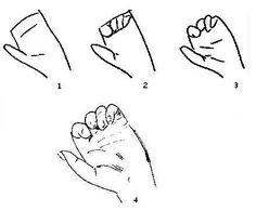 Hand - stap voor stap tekenen, voorbeeld, leren