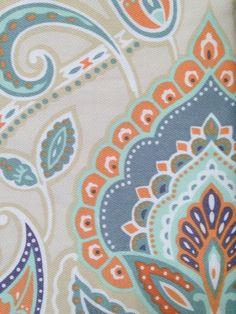 CYNTHIA ROWLEY PAISLEY FABRIC SHOWER CURTAIN BURNT ORANGE TAN BLUE AQUA WHITE