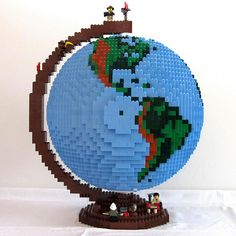 Three-dimensional globe made out of Legos